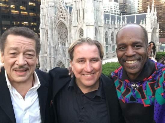 John Lee and Mark Kostabi.Tommy Campbell at Rockerfeller Center June 12 2018