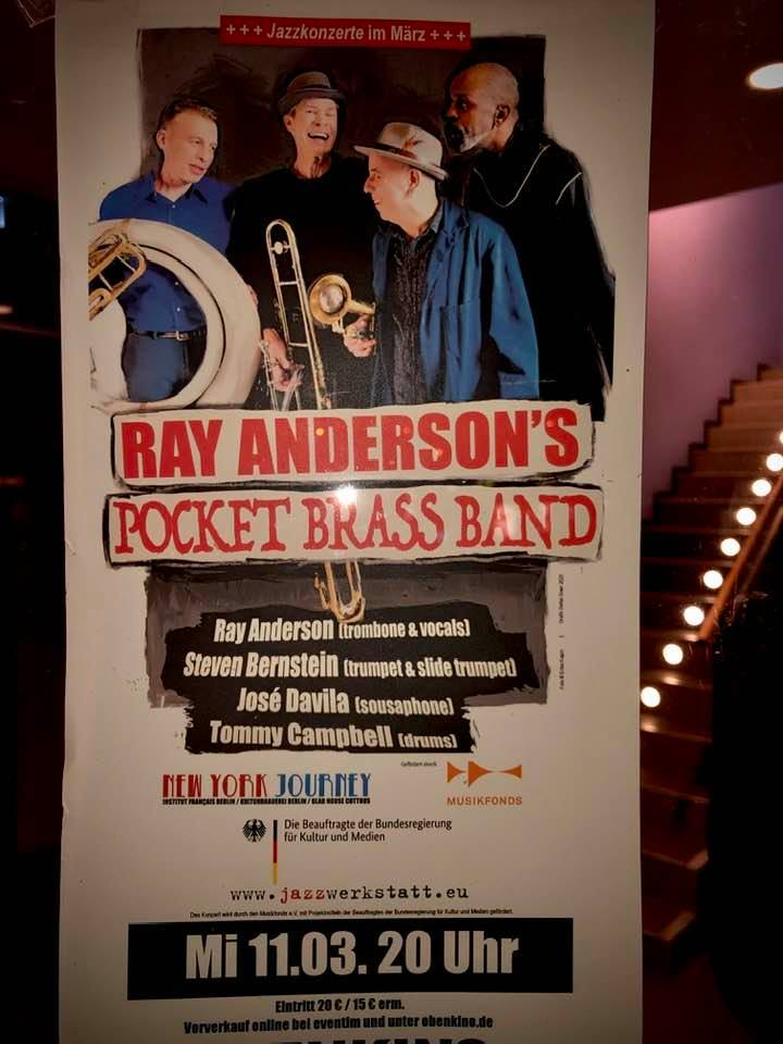 Ray Anderson's Pocket Brass Band EUROPEAN TOUR 2020 COTTBUS,GERMANY CONCERT POSTER:AD